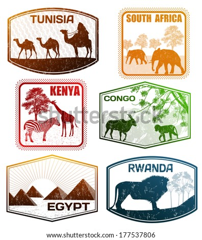Stylized passport grunge rubber stamps of various African countries, vector illustration - stock vector