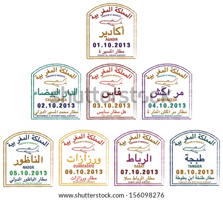 Stylized passport stamps of Morocco in vector format.