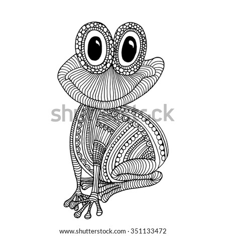 Stylized patterned illustration of frog - stock vector