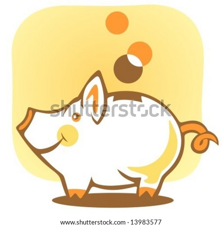Stylized piggy bank and coin on a yellow background. - stock vector