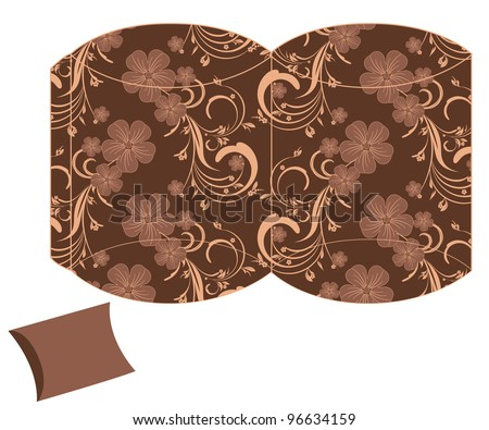 stylized pillow flower gift box template - stock vector