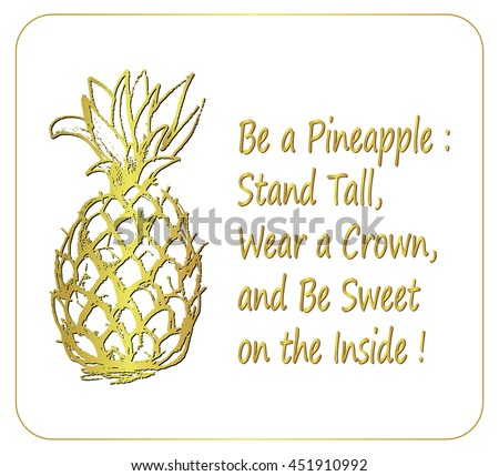 Hand Drawn Illustration Isolated Pineapple Fruit Stock