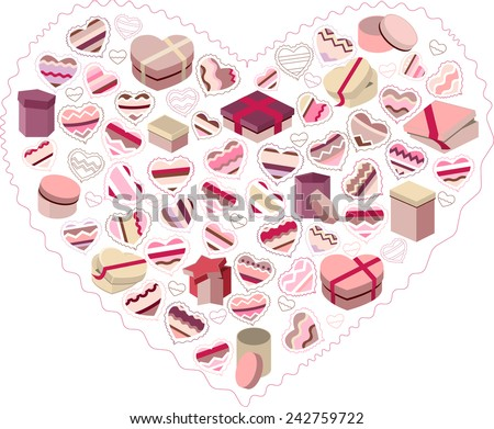 Stylized pink heart made of hearts and gift boxes isolated on white