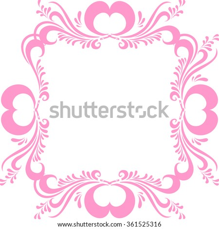 Stylized pink picture frame, with ornate pattern, and hearts for Valentine's day. Frame for photo vector Valentine - stock vector