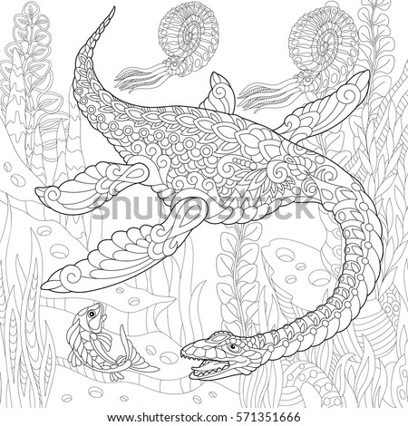 Coloring Books For Adults Dinosaurs : Dolphin coloring book adults raster illustration stock
