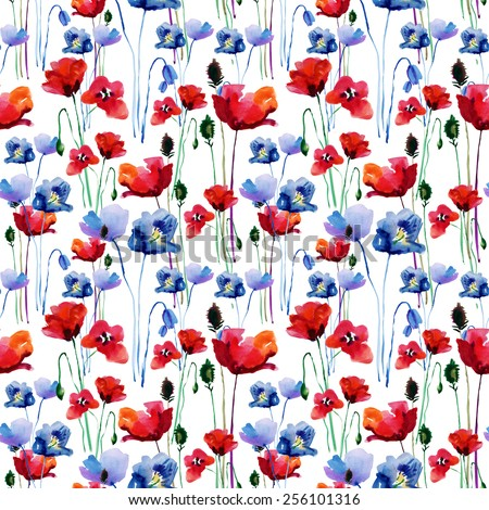 Stylized Poppy flowers illustration, seamless pattern. vector. - stock vector
