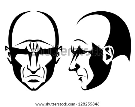 Stylized portrait and profile of a grim bald man - stock vector