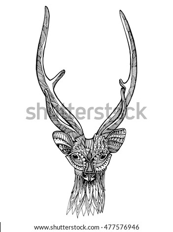 abstract deer head tribal tattoo stock vector 221370769 shutterstock. Black Bedroom Furniture Sets. Home Design Ideas