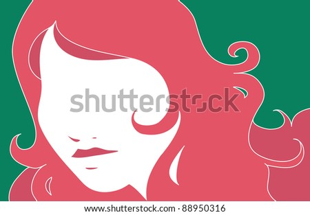 stylized portrait of a woman - stock vector