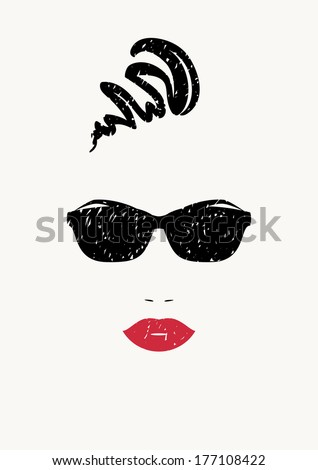 Stylized portrait of beautiful woman in black sunglasses. Vector version. - stock vector