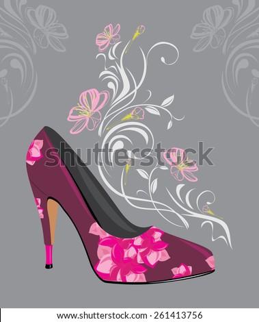 Stylized purple elegant female shoes. Vector - stock vector