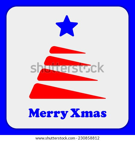 Stylized red Christmas tree with a blue star in the blue border