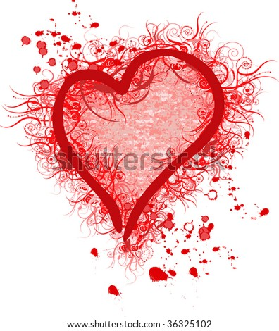 Stylized Red Heart - stock vector