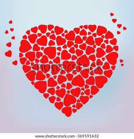 Stylized red heart made of small heart shapes. 14 February. Template for wedding, love, Valentine's day invitation and greeting card. Vector Blurred Soft Background.