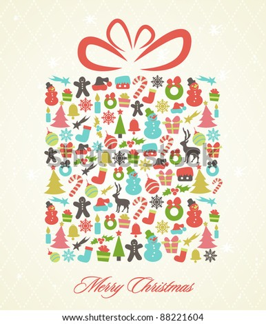 Stylized Retro Christmas Background - stock vector