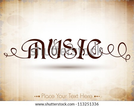 Stylized retro music text. EPS 10. - stock vector