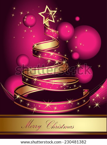 Stylized ribbon Christmas tree. Pink and gold vector illustration. - stock vector