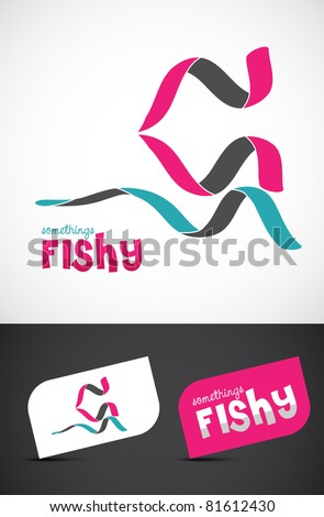 Stylized ribbon fish icon such logo & business cards, EPS10 vector. - stock vector