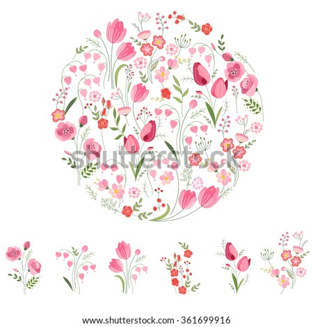 Stylized round template with cute bunches of tulips. Floral spring pattern for romantic and easter design, wedding announcements, greeting cards, posters, advertisement. - stock vector