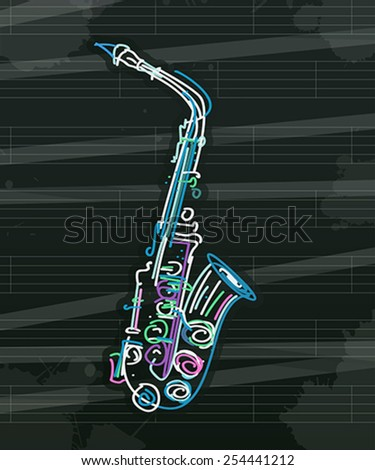Stylized saxophone over musical sheet, abstract art - stock vector