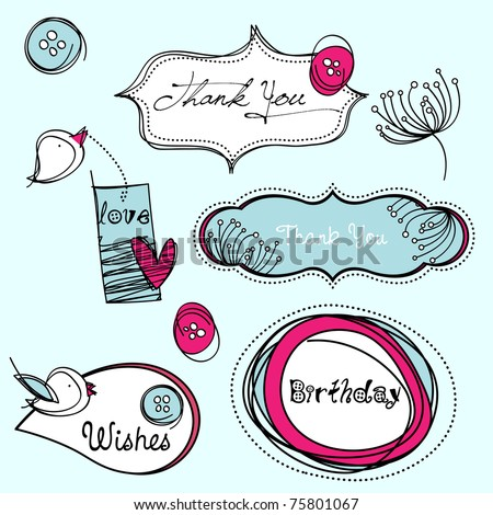 Stylized scrapbook elements, EPS10 vector. - stock vector