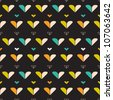 Stylized seamless pattern with hearts - stock vector
