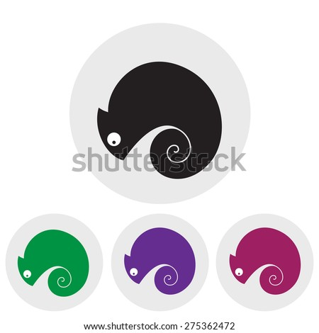 Stylized silhouette of a chameleon in different colors on a light background. Logo design for company. - stock vector
