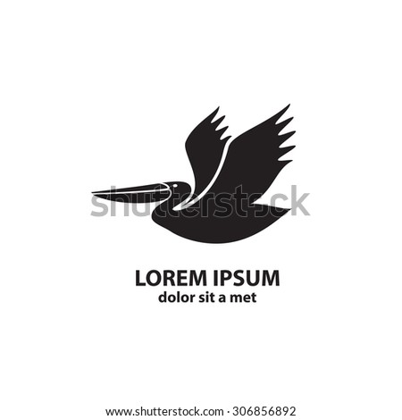 Stylized silhouette of a Pelican. Logo design for the company.