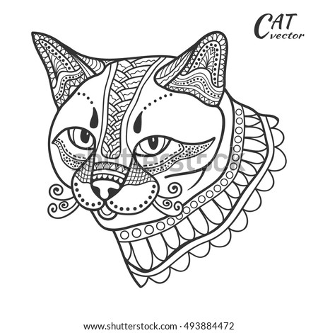 Stylized sketch cat. Hand drawn cartoon animal illustration for antistress coloring book page. Black and white doodle ornate cat for T-shirt emblem, logo or tattoo. Zen art, isolated design element