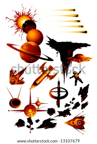 Stylized space clip-art - stock vector