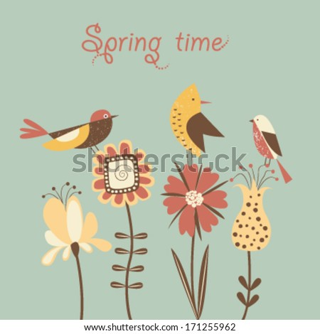 Stylized spring flowers and birds. Vector - stock vector