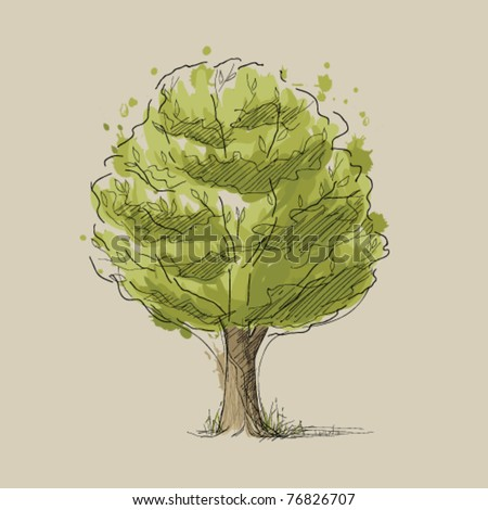 Stylized summer tree - stock vector