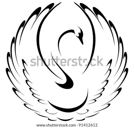 Stylized swan - stock vector