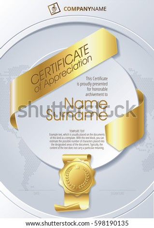 Stylized template certificate appreciation ribbons golden stock stylized template of certificate of appreciation with ribbons and golden badge on round plane pronofoot35fo Images
