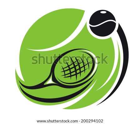 Stylized tennis icon logo with a green tennis ball superimposed with a curved racket and ball with motion trails, isolated on white - stock vector
