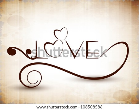 Stylized text Love. EPS 10. - stock vector