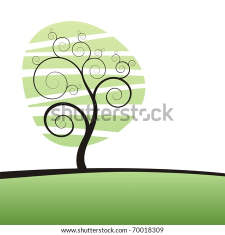 stylized tree with a place for your text - stock vector