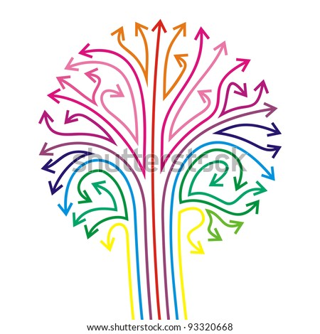 stylized tree with color-full arrows - stock vector