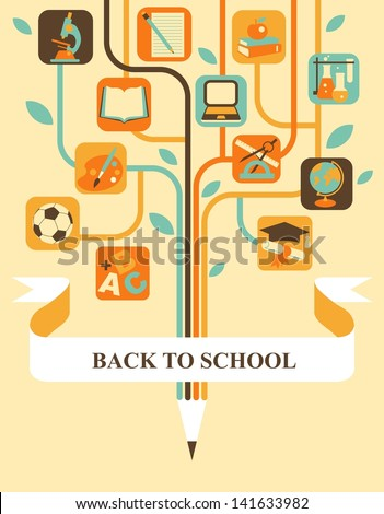 Stylized tree with education icons and banner for your text - stock vector