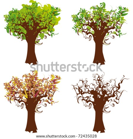 stylized tree with its long twisted branches
