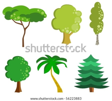 stylized trees - stock vector