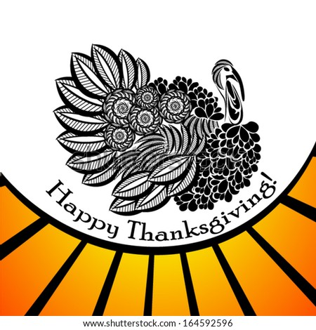 stylized turkey. Happy Thanksgiving. Vector - stock vector