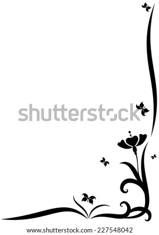 stylized vector border with  flowers for corner design - stock vector