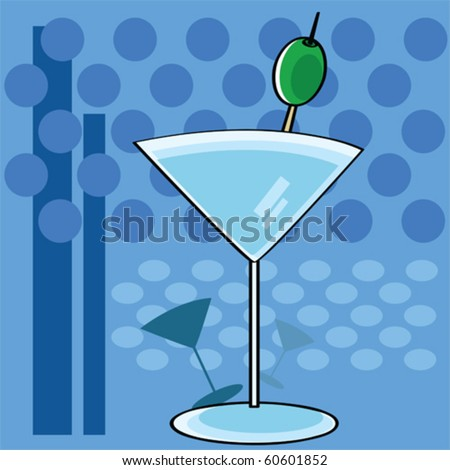 Stylized vector cartoon illustration showing a cocktail martini glass with a funky background - stock vector