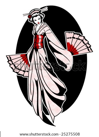 stylized vector illustration of a beautiful geisha girl - stock vector