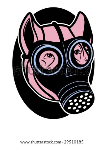 stylized vector illustration of a pig wearing a gas mask