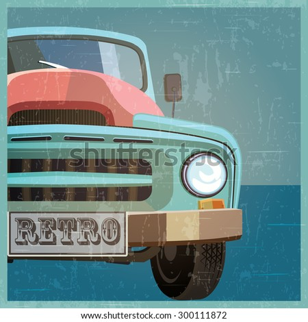 Stylized vector illustration of a retro car. the old pickup - stock vector