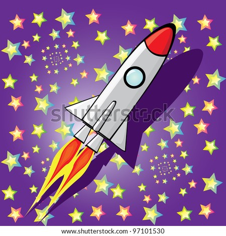 Stylized vector illustration of a retro rocket ship space vehicle blasting off into the sky. - stock vector