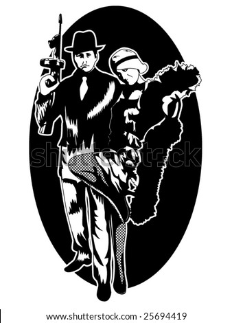 stylized vector illustration of a 1920's gangster and a beautiful flapper girl - stock vector