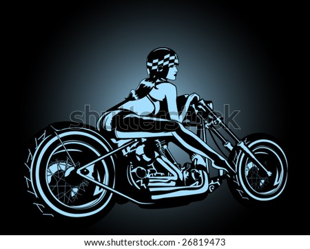 stylized vector illustration of a sexy female biker